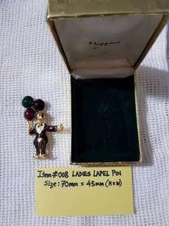 Item #008,   LADIES LAPEL PIN.   Size : H 70mm  x  W 45mm