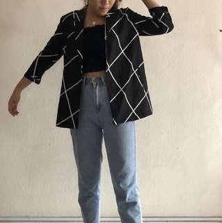 *NEW* YHF Black Grid Blazer (S, UK 6)