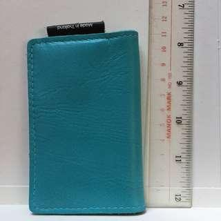 Leather card holder blue