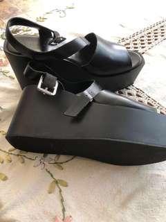 Women's Heels Charles & Keith Platform Sandals Shoes Strappy sandals Black
