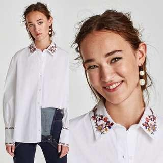 (S) Zara TRF White Shirt with Floral Embroidery Details