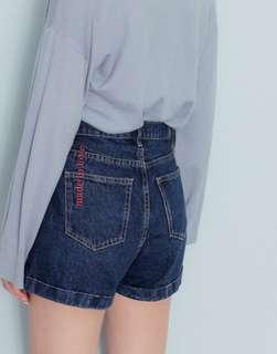 🚚 Pazzo PS系列 後口袋刺繡反褶顯瘦牛仔短褲