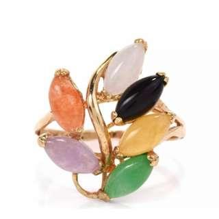 Gorgeous Vintage Multi Colored Jade 14K Yellow Gold Cocktail Ring (VGC)
