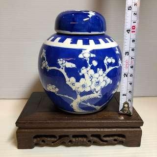 Plum Blossom Blue White Tea leafs / Ginger Jar