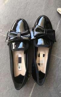 Miu Miu Black Patent Loafers with bow