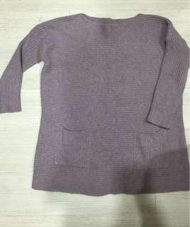 藕紫色平領雙口袋針織上衣