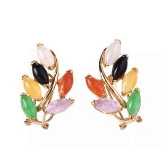 Exquisite Vintage Multi Coloured Jade 14K Yellow Gold Earrings 5.2 Grams ( VGC)