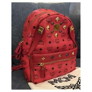 MCM RED STUDDED BACKPACK
