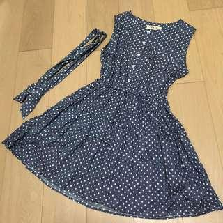 Dotted Blue Dress w belt 藍色波點連身裙
