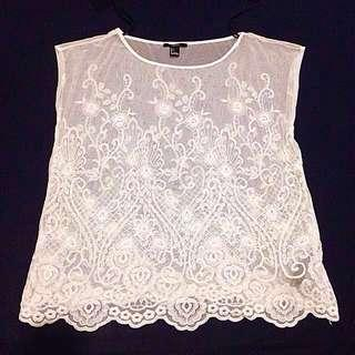 Forever 21 Embroidered Mesh Sheer Top