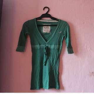 Women - GREEN HOLLISTER 3/4 BLOUSE XS
