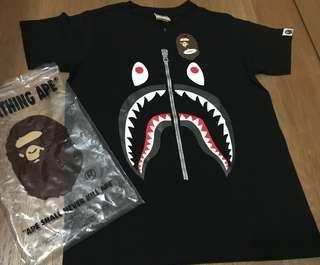 BNWT BAPE Bathing Ape Shark tee Classic Black on Black Ladies S