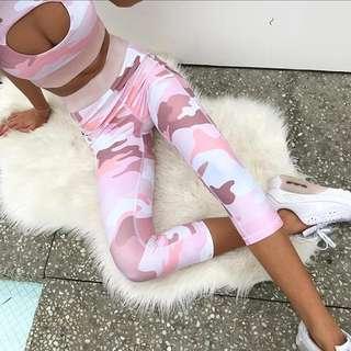 Pink camo print gym set