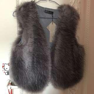 灰色 毛毛 背心 外套 imitate fur grey vest jacket