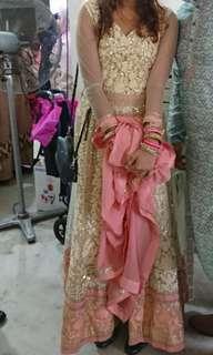 Anarkali ( cream and pink )