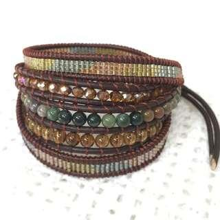 5 wrap leather bracelet