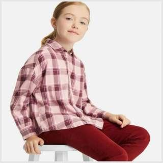 ♡Girls Flannel Checked Long Sleeve