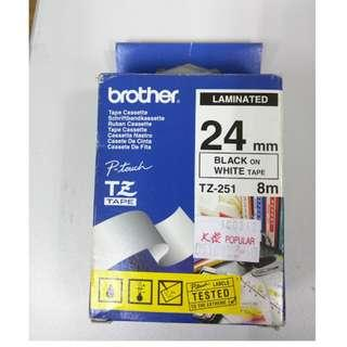 Brother Tz-251  24mm Black on white tape