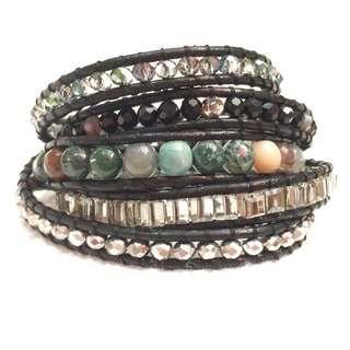 Indian agate 5 wrap leather bracelet