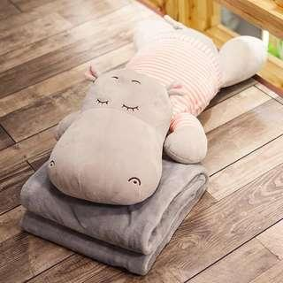 BIG Hippo Pillow + Blanket (Set of 2 - soft and warm)