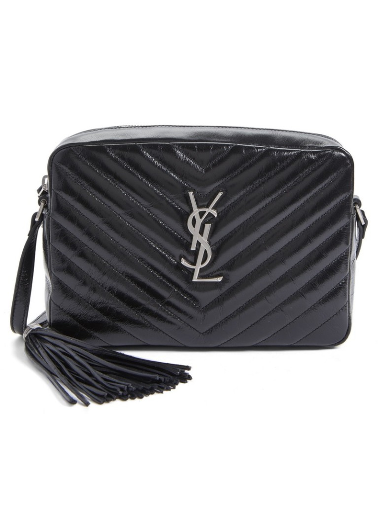 99c55fc8c AUTHENTIC SAINT LAURENT LOU CAMERA BAG IN MATELASSÉ LEATHER (Black ...