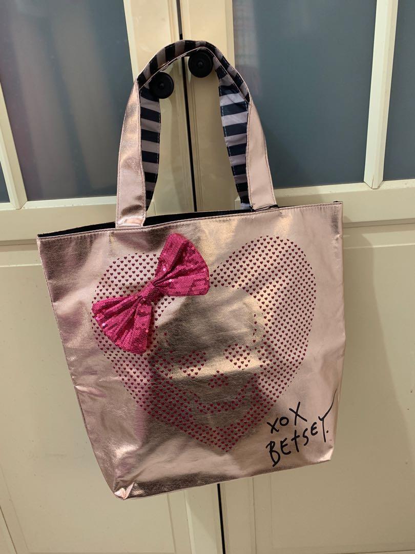 美國設計師品牌Betsy Johnson閃亮粉紅托特包