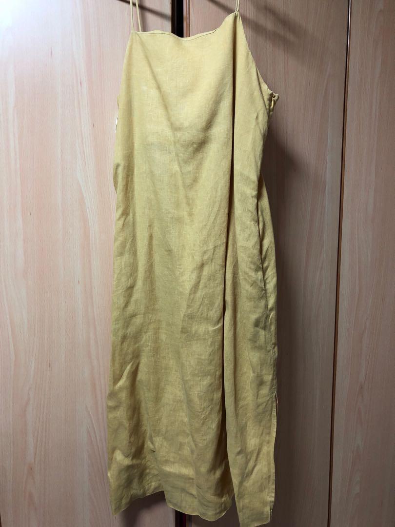 ac94e2cc43 Beyond the vines linen dress in yellow UK10