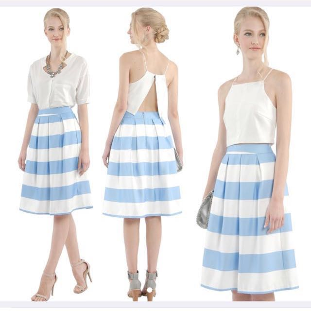 Women's Clothing Next Midi Striped Skirt Ladies Size 10 Bnwt Clothing, Shoes & Accessories