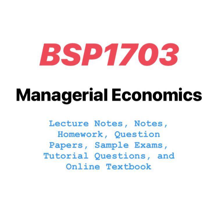 BSP1703 Managerial Economics