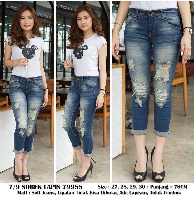 Celana Jeans Wanita Murah Sobek Lapis 79955 Kakistuff21 Fesyen Wanita Pakaian Wanita Bawahan Di Carousell