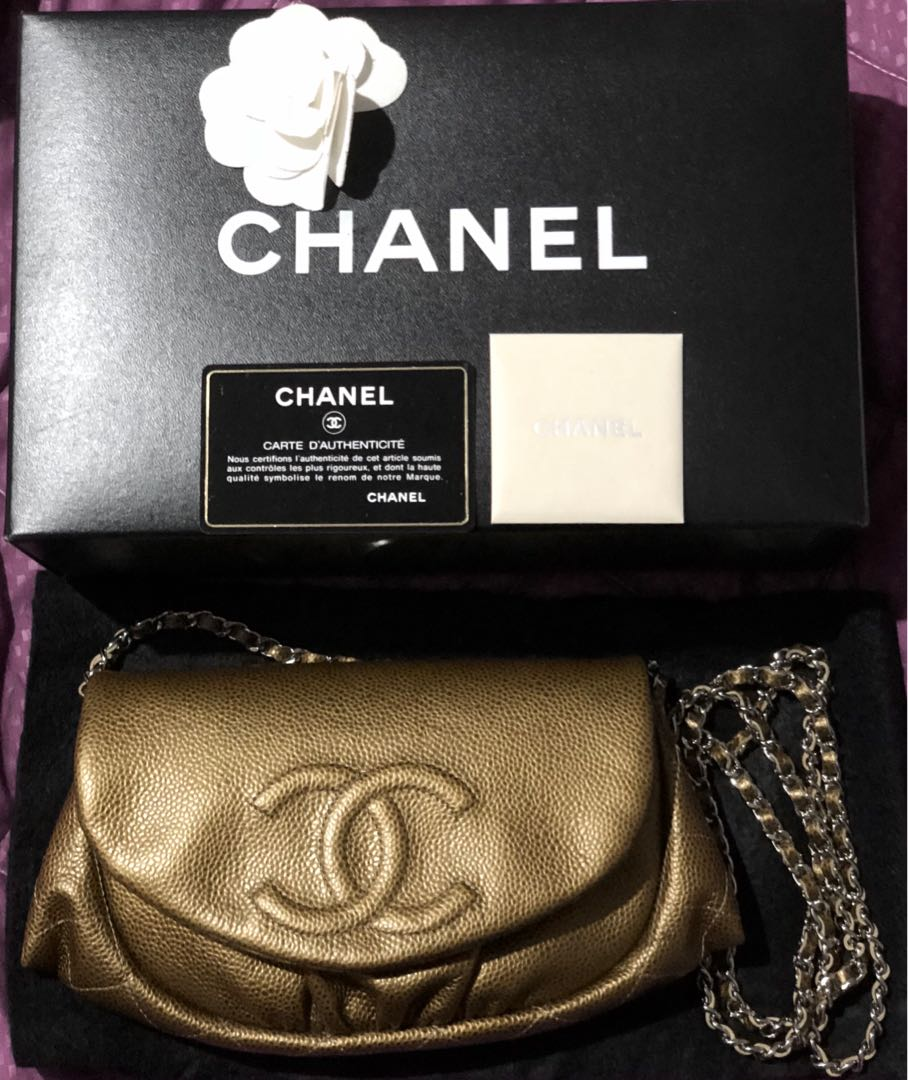 87a6827d60d6 CHANEL Bronze Quilted Caviar Leather Half Moon Wallet On Chain Bag ...