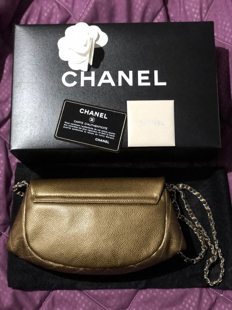 ed5e24f939b2 CHANEL Bronze Quilted Caviar Leather Half Moon Wallet On Chain Bag ...