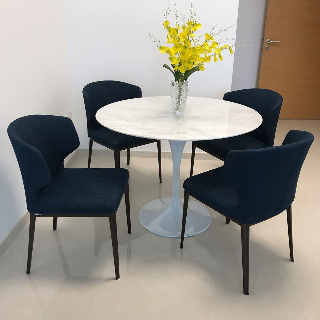 Dining Set Marble Round Table 4 Chairs Priced To Sell