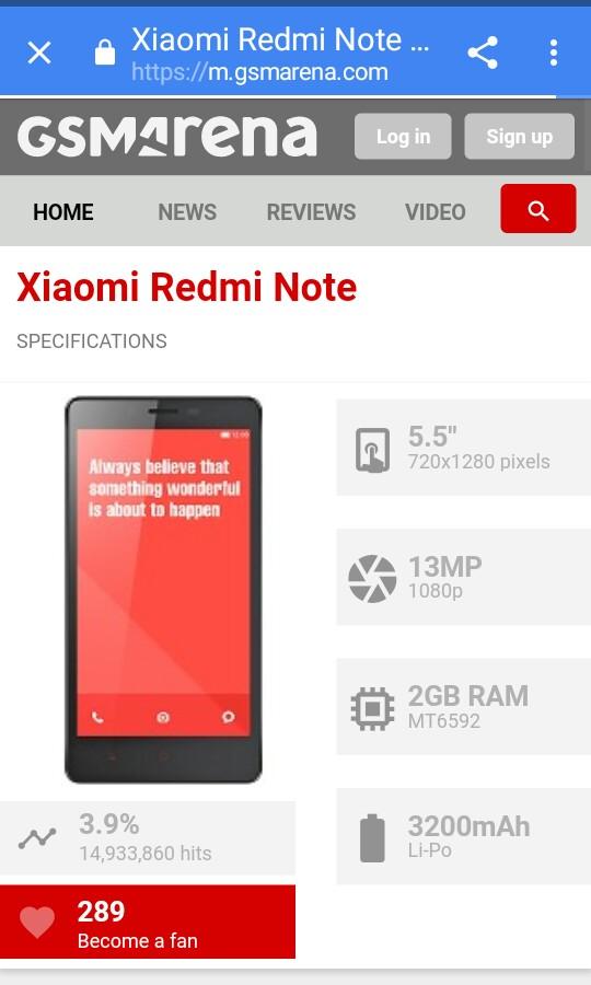 for sale Xiaomi redmi note 1w