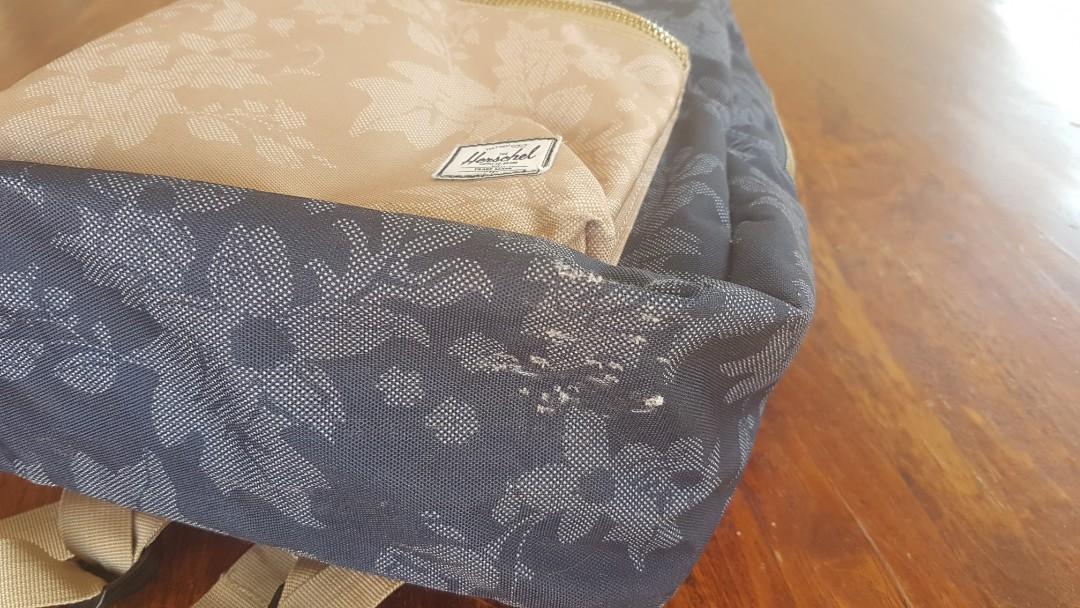 Hershel Floral/Leaf Canvas Backpack Bag Blue & Brown