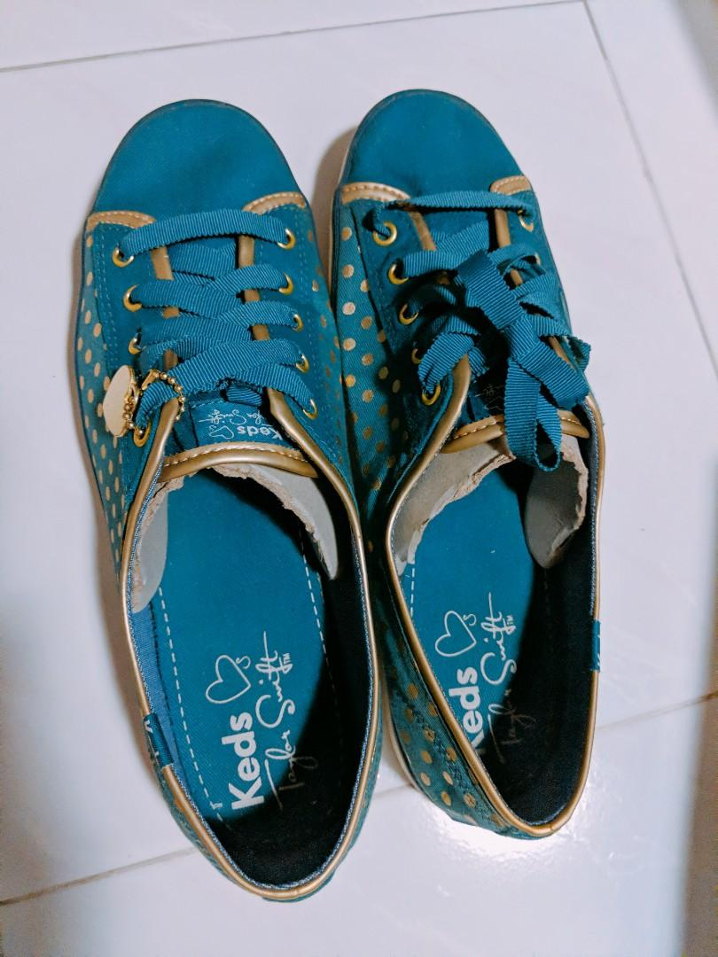 Keds Taylor Swift blue and gold polka dots