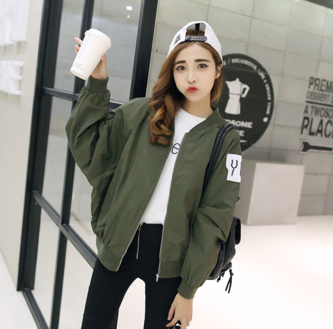 Image result for bomber jacket korean  female