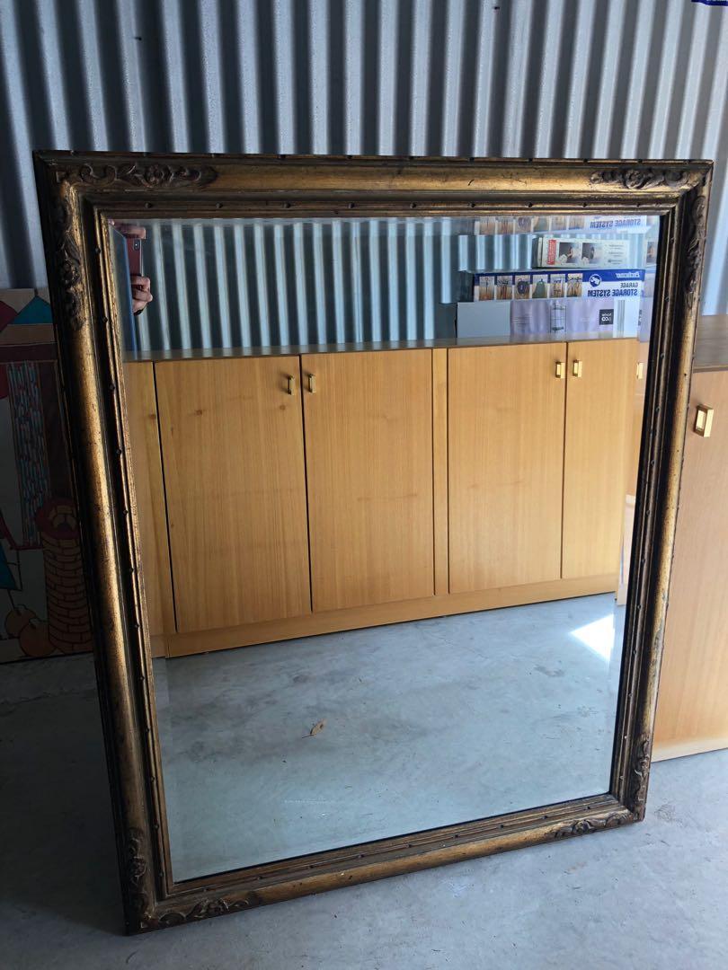Large Antique Wooden Frame Mirror