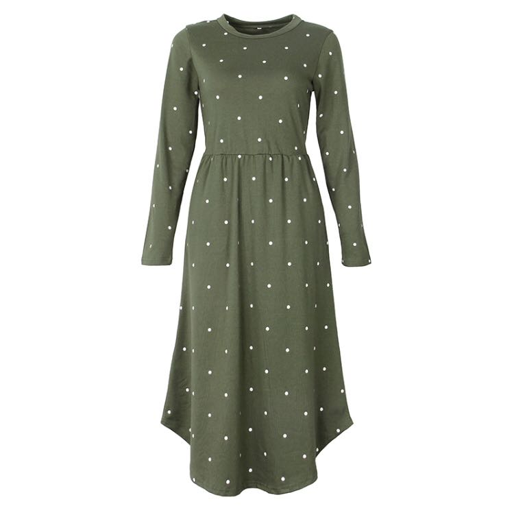 (PO) S-XXL 2018 New Women Vintage Dress Robe Femme Casual Loose A-line Midi  Dress O-neck Pockets Polka Dot Dress, Women s Fashion, Clothes, Dresses    Skirts ... ee048ee9f6fa