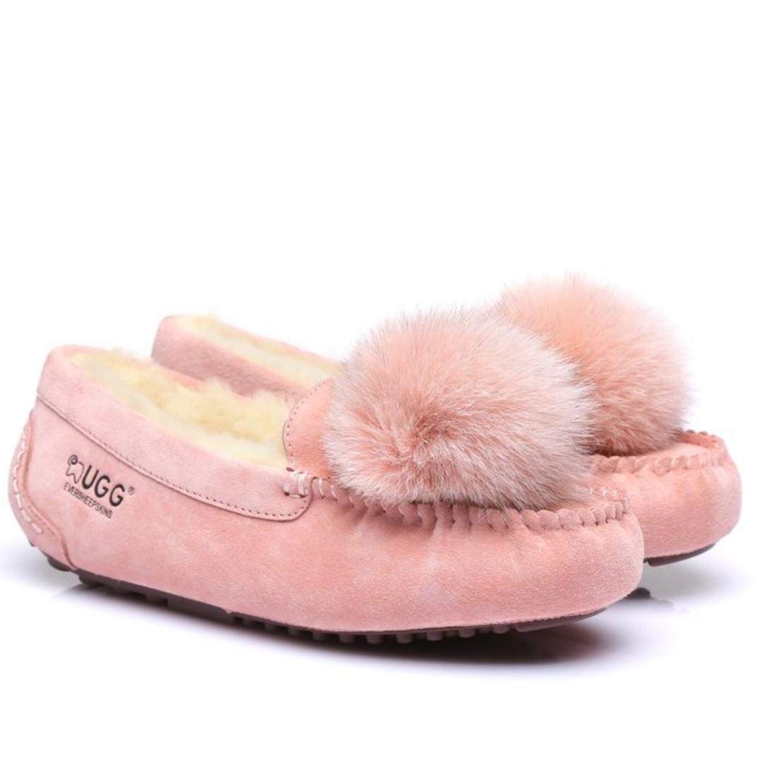 UGG Fox Fur Pom Pom Moccasins Loafer Flats - Hera, Water Resistant Suede Upper Australian Sheepskin Lining&Insole
