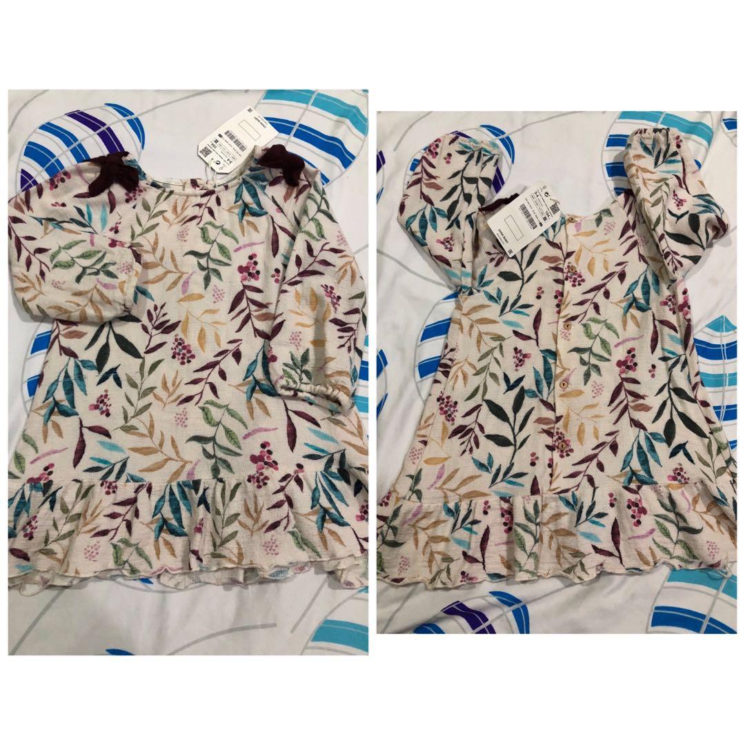 4e48b7b4 Zara Baby Leaf Print Dress, Babies & Kids, Girls' Apparel, 4 to 7 Years on  Carousell