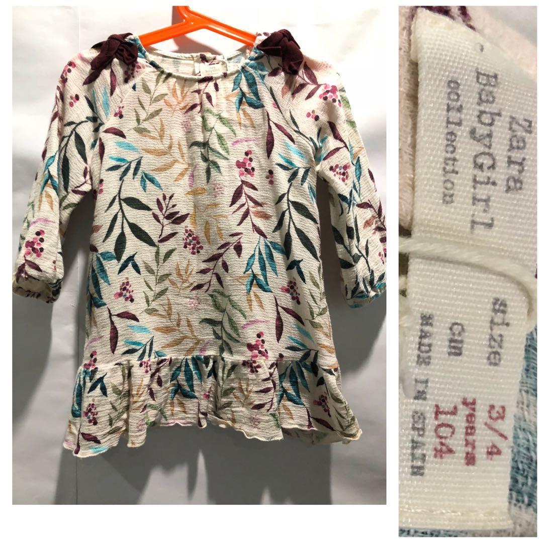 8169283c Zara Baby Leaf Print Dress, Babies & Kids, Girls' Apparel, 4 to 7 ...