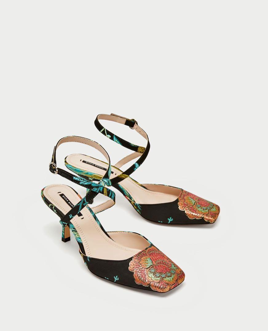 9af04275b7b Zara Embroidered sandal heels