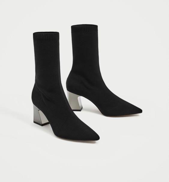 Zara Sock Boot with Metallic Heel (Size