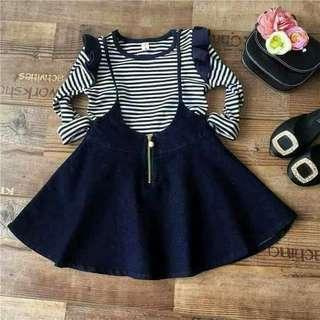 💗💗Best seller!!!!  💜2in1 kid terno 💛Jumper dress and top 💖small,med ,Large 💚4 to 7 yo 💙320 pesos only