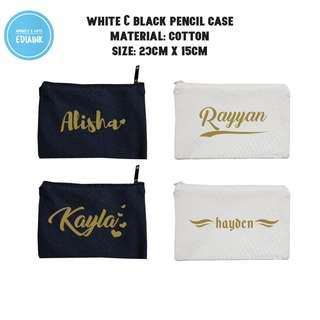Black White pencil case Personalization Promotion with name print