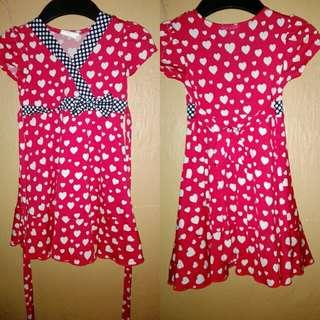Red hearty dress