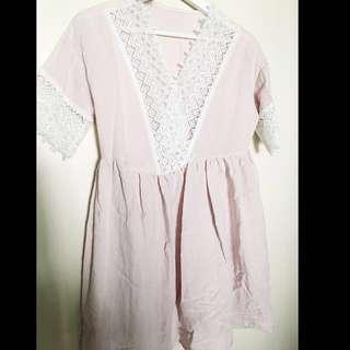 BN Pink lace dress ( free size)