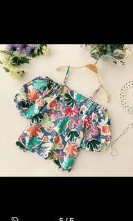 BN Tropical Abstract Off Shoulder Top