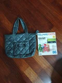 Cabane de Zucca of Japan quilted shoulder tote bag in grey colour